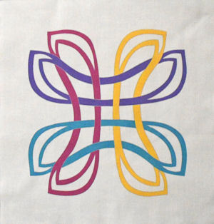 Danu celtic knot design on white with four colors.