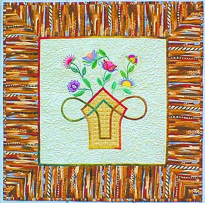 Machine embroidered flowers with a Basket: Celtic Style