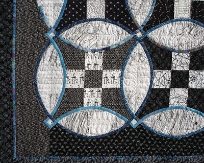 Corner of the Knotwork Nine Patch quilt.
