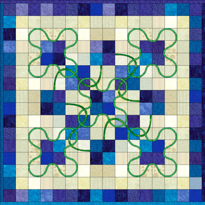 Small blues version of the Lucky Four Patch pattern.