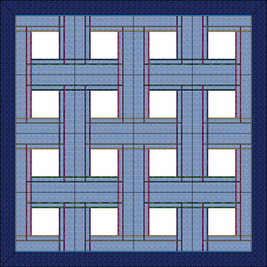 16 block layout of Celtic Plaid Pillows.