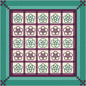 San Kamon quilt with pieced borders.