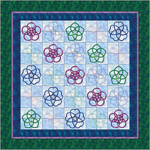 Four patch pieced block version of San Kamon quilt.