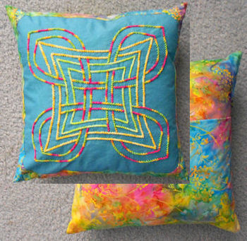 "Twilling block made into a 14"" pillow"