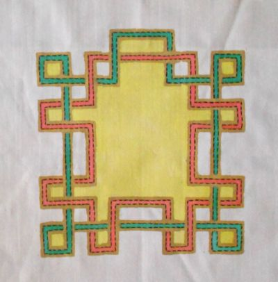 Smaller block with side knot turned each direction