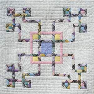 Closeup of center block in Celtic Circuits wallhanging.