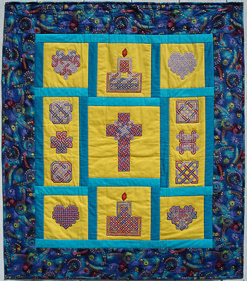 Embroidery sampler quilt.