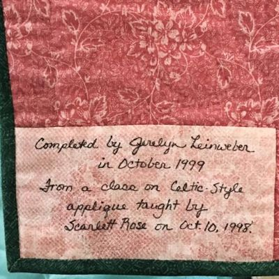 Label from Jerelyn's small quilt
