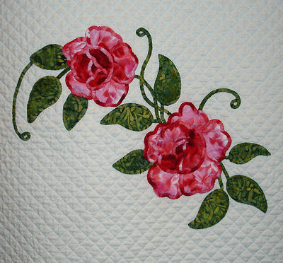 Closeup of a rose block.