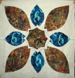 Lobster and shell batiks as insets.