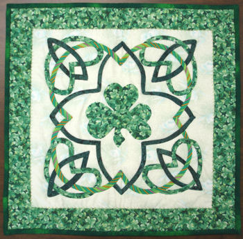 Celtic block with shamrock applique.